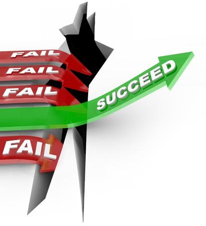 Mehrere rote Pfeil mit dem Wort Fail-Sprung in einen Abgrund, während eine erfolgreiche grüne Pfeil mit dem Wort Succeed erhebt sich über die Herausforderung, einen Wettbewerb zu gewinnen