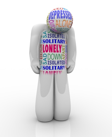 psychiatry: A person with words on his chest related to his feelings of emotional detachment: alone and lonelienss, isolated, detached, unloved and deserted Stock Photo