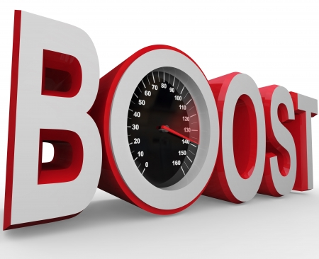 The word Boost with a speedometer in letter O measuring the speed of your improvement, faster pace, recovery or overall change for the better