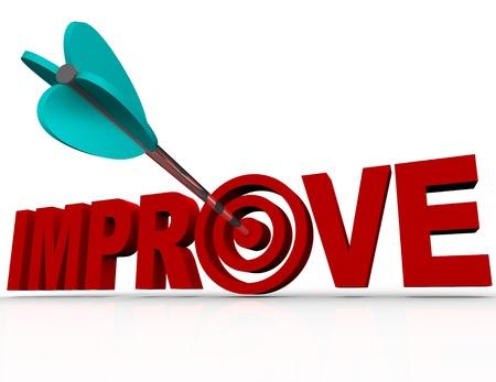 inspirerend: Een pijl in een bulls-eye in het woord Verbeter symbool voor de succesvolle bereiken van een doel voor het verbeteren van je leven of het verhogen van de effectiviteit van een organisatie of project