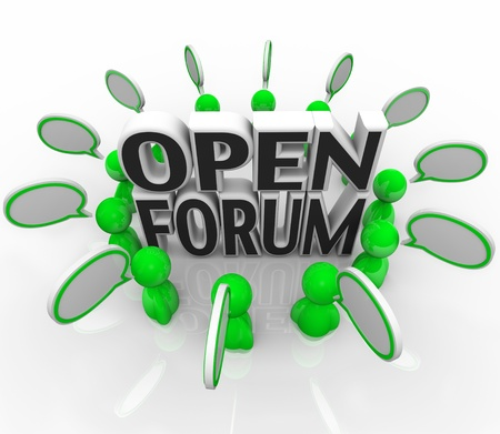 discussion forum: A group of illustrated 3d people are arranged in a circle around the words Open Forum representing sharing and communication of questions and ideas