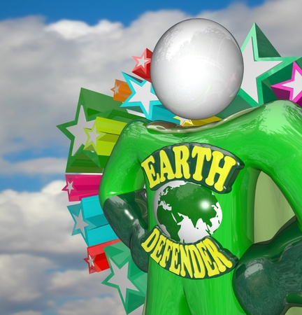 A person in a green superhero costume stands ready to face challenges to the Earth in his role as environmental activist and helper of all things eco friendly