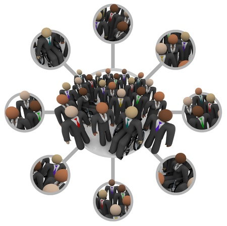 business opportunity: Many people of different races in business suits connected by links in a communication networking grid representing professional networking