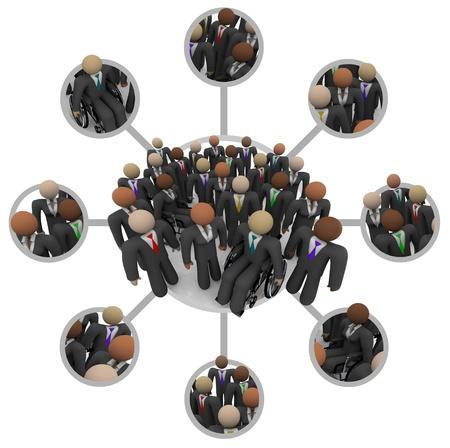 diversidad: Muchas personas de diferentes razas en trajes de negocios conectadas por enlaces en una red de redes de comunicación que representan las redes profesionales