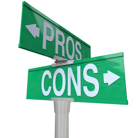 right choice: A green two-way street sign pointing to Pros and Cons comparing your options so you can decide the best choice for you and make a decision