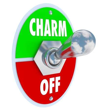 A metal toggle switch with plate to illustrate the saying Turn On the Charm symbolizing the desire to be charismatic and alluring to other people, especially the opposite sex Stock Photo - 11679238