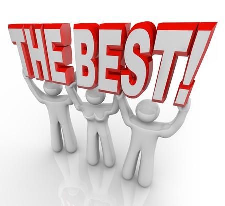 3 人のチーム持ち上げるベストを祝うために単語の受賞者をされていると彼らは何をすべきかで最高の指導者を宣言します。