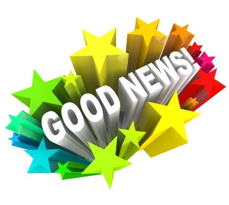 anunciar: Las noticias buenas palabras en una explosi�n de colores de las estrellas o los fuegos artificiales para anunciar informaci�n que es emocionante y que has estado esperando para leer o escuchar