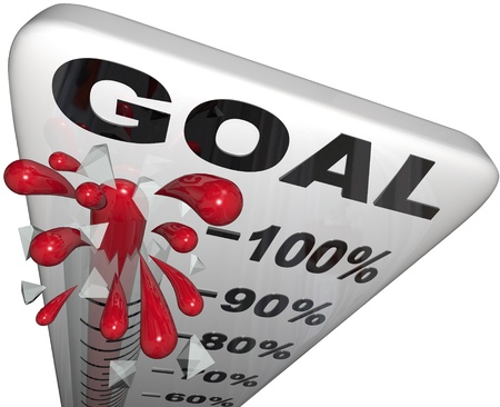A thermometer with mercury rising past numbers and percentages to show progress toward a goal and vision, illustrating success in fulfilling your mission Stock Photo - 11679246