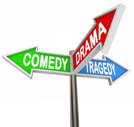 theatre: Drei bunte Schilder mit der Aufschrift Pfeil Kom�die, Drama und Trag�die, die die gegens�tzlichen Typen von B�hne und Theater-Produktionen und wie das Leben Geschichten sind die Schnittmenge aller drei Arten von Fiktion Lizenzfreie Bilder