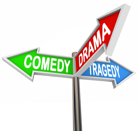 intersecting: Three colorful arrow signs reading Comedy, Drama and Tragedy representing the contrasting types of stage and theatre productions and how life stories are the intersection of all three types of fiction  Stock Photo