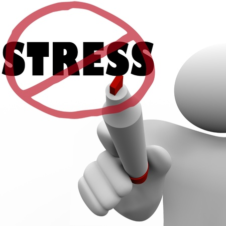 A person draws a circle and slash over the word Stress to symbolize the reduction or elimination of stressful thoughts, actions or other factors that create anxiety or strain in life Stock Photo - 11679248