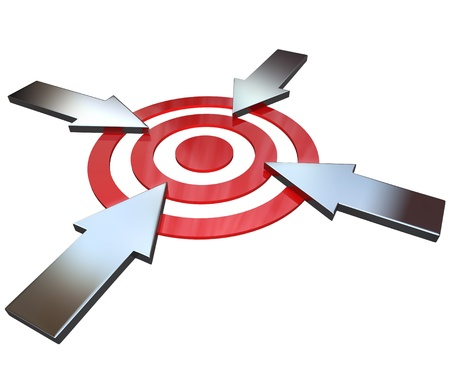 pointed arrows: Four opposing arrows approach a bullseye target from 4 different directions in competition to be first to be successful and reach the goal  Stock Photo