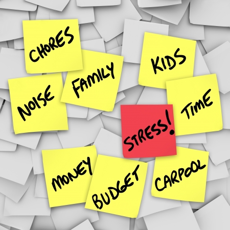 A life of stress illustrated by many sticky notes with reminders of stressful things such as Chores, Money, Budget, Kids, Family, Work, Time and Noise Stock Photo - 11679254