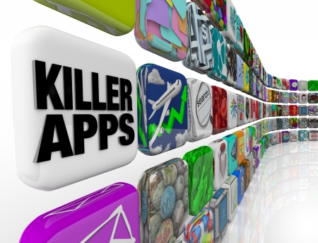 mobile device: The words Killer Apps on an app tile in a wall of applications and software you can download into your smart phone, tablet computer or other mobile device