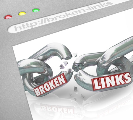 hotlink: A web browser window shows connected chain links broken to represent broken hyperlinks and hotlinks Stock Photo