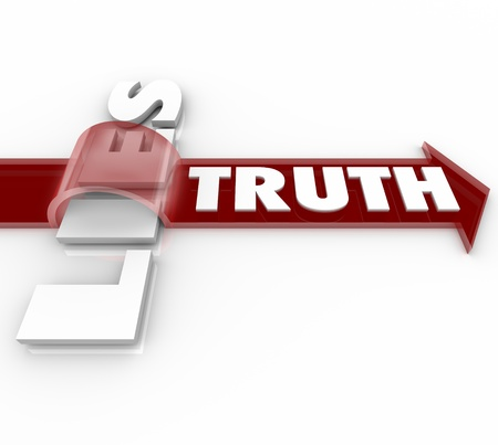 scam: The word Truth rides a red arrow over the word Lies, symbolizing the fact that being sincere and honest beats being deceitful and dishonest Stock Photo