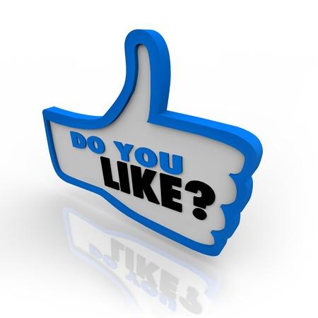 thumbs up icon: A los pulgares trazada en color azul hasta el icono con las palabras te gusta y el signo de interrogaci�n para la aprobaci�n o simpat�a de un sitio web o un objeto que se examina Foto de archivo