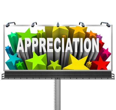 gratefulness: Una valla exterior de comunicaciones aprecio y reconocimiento por un logro excepcional y un trabajo bien hecho Foto de archivo