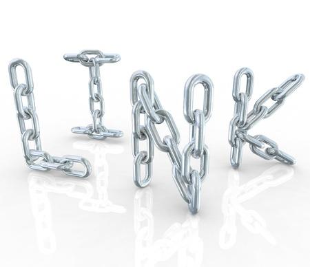 Het woord Link in glanzende reflecterende metalen schakels die verbindingen zoals web verwijzingen en samenwerking met partners
