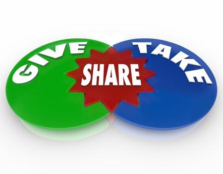 generoso: Un diagrama de Venn con círculos marcados Dar tomar y compartir para ilustrar el beneficio de intercambio de conocimientos o de los activos valiosos con los demás