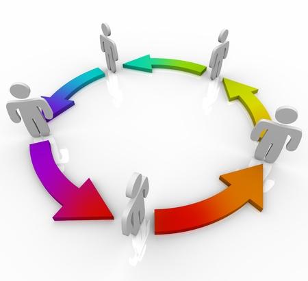 sinergia: Varias personas unidas por flechas de múltiples colores cambiantes sombra que simboliza la evolución provocada por cooperar con los demás y compartir los conocimientos y habilidades