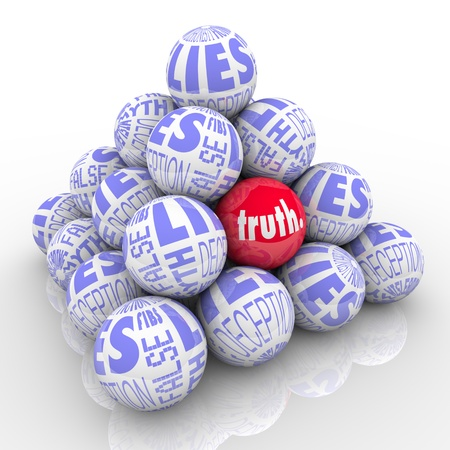 lie: A pyramid of balls representing lies with one different ball hidden within it marked Truth.  Hard to find honest facts among lies, deceit, deception, fibs, misleading stories and fiction. Stock Photo