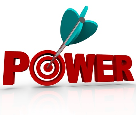 An arrow makes a direct hit in the bulls-eye target in the word Power, symbolizing the strength and force of being in a position of control and influence Stock Photo - 11949807