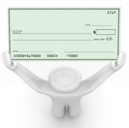 blank check: A man holds a large paper check that is blank and has space for you to include your own text