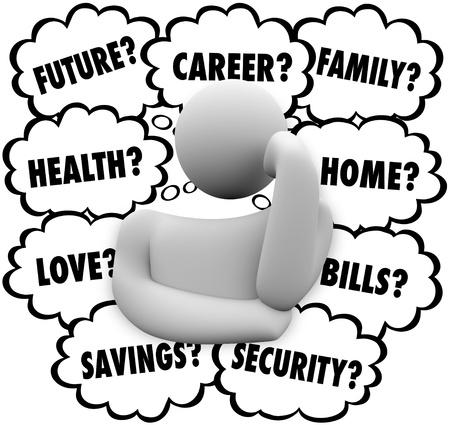 preocupacion: Una persona preocupándose profundamente en el pensamiento concentrado en los problemas causantes de estrés en su vida, incluyendo el futuro, carrera, salud, hogar, familia, amor, cuentas de ahorro y más