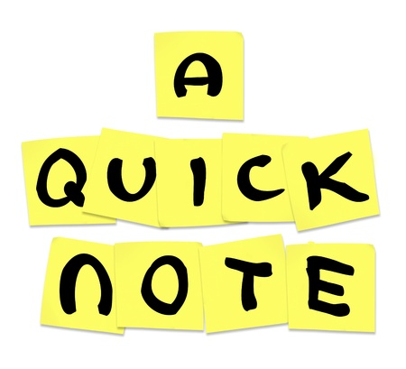 suggesting: The words Quick Note written on yellow sticky notes to illustrate advice or tips shared to help someone with a problem or needing information Stock Photo