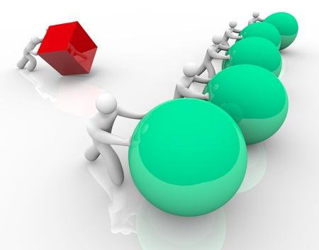 사람이 시도하고 경쟁 신속하게 승리를 앞으로 구하거나 볼을 이동하는 동안 사각형 또는 큐브를 밀어 실패로 상징 불공정 경쟁 또는 경쟁 스톡 콘텐츠