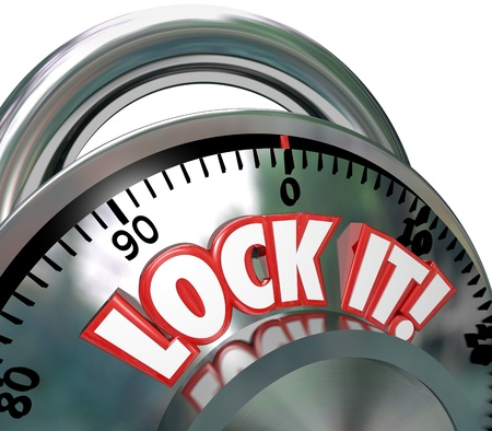 padlocked: The words Lock It on a metal combination lock to symbolize safe and secure nature of a locked area for security