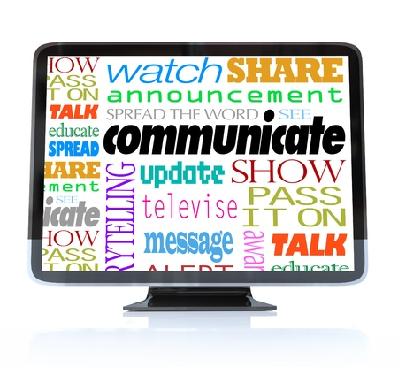 A HDTV television with the word Communicate and many other related words and terms such as watch, show, alert, announcement, update and more photo