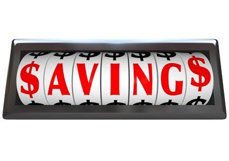bargain sale: The word Savings in red letters on an odometer of a vehicle or device counting or tallying the money saved at a sale or discount clearance event