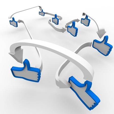기호 같은 여러 엄지 손가락은 긍정적 인 리뷰와 버즈의 확산을 상징하는 화살표로 연결되어