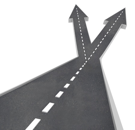 The road ahead of you splits into two directions with arrows pointing left and right, so you must make a choice and select a direction to travel Stock Photo