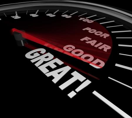 Een snelheidsmeter met rode naald racen langs de woorden Poor, Fair en Goed om te wijzen op het woord Groot als symbool van een prestatie-evaluatie of evaluatie Stockfoto
