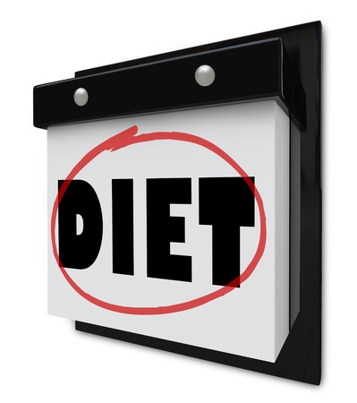 A wall calendar with the word Diet circled by a red marker to remind you of your plan and goal to lose weight and get healthier Stock Photo - 12073671