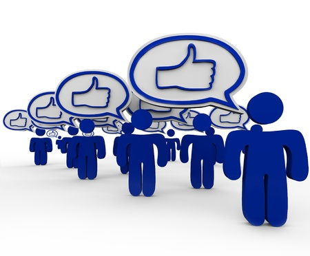 Thumbs Up symbols in many speech bubbles expressed by several people in consensus of like or liking something, giving approval and expressing satisfaction Banque d'images