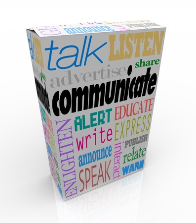 interpersonal: The word Communication on a box along with many other related words such as talk, listen, advertise, announce, warn, alert, enlighten and others to symbolize the sharing of thoughts and ideas