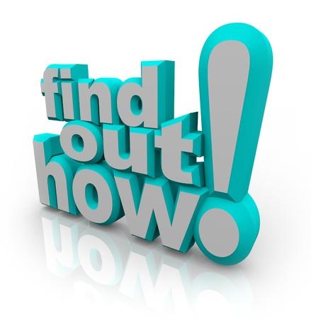 De 3d woorden Lees hier hoe op een witte achtergrond voor advies, hulp of kennis en how-to stappen om een vraag te beantwoorden of een taak te voltooien Stockfoto