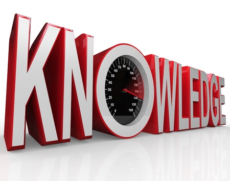 The word Knowledge with a speedometer in it symbolizing the fact that learning and gathering information is power and drives you to success photo