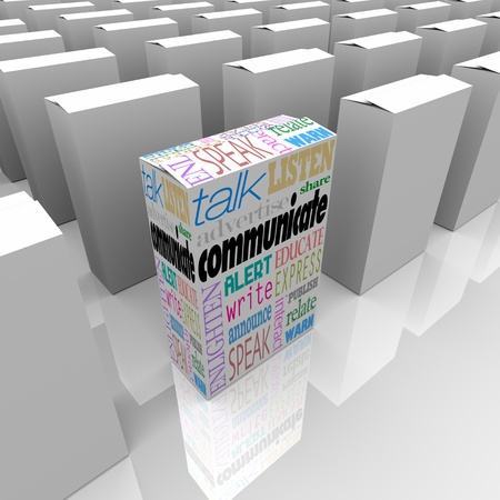 Veel dozen op een winkelschap, een met het woord Communiceren en veel woorden die verband houden met het, zoals spreken, praten, luisteren, te waarschuwen, aan te kondigen, educatie, interactie en nog veel meer Stockfoto - 12232063