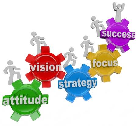 actitud positiva: Un equipo de gente que camina al alza sobre los engranajes conectados con la actitud palabras, la visión, estrategia, enfoque y el éxito que simbolizan los elementos necesarios para lograr una meta y tener éxito en los negocios o la vida