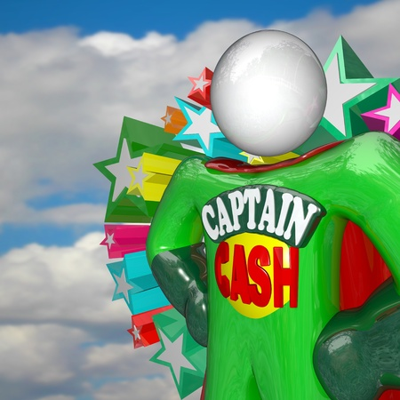 savings problems: The superhero Captain Cash stands with arms on his hips with cape behind him against a blue cloudy sky, fighting for lower prices and rates to save you money Stock Photo