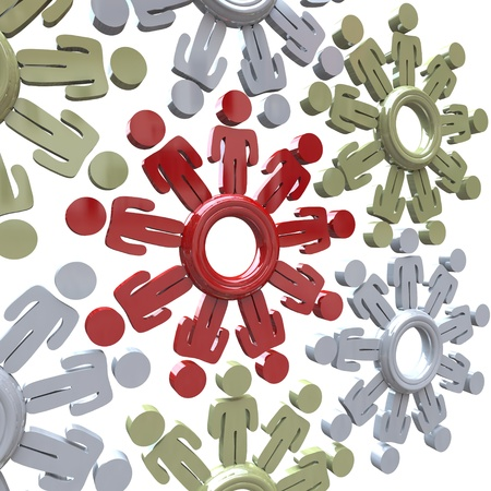 Several gears with people as spokes, all turning together in unison and teamwork to achieve success together and achieve goals Stock Photo - 12232102