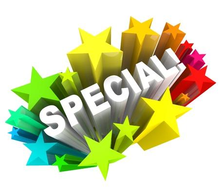 Het woord Special in een uitbarsting van sterren die een korting van verkoop of lof of compliment voor een persoon met andere of unieke kwaliteiten Stockfoto
