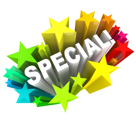exceptional: The word Special in a burst of stars representing a discount sale or praise or compliment for a person with different or unique qualities Stock Photo