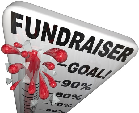 fundraiser: A thermometer with mercury rising past the 100% goal mark and shattering the top mark to illustrate a successful fundraiser campaign or pledge drive for a worthy cause or charity Stock Photo